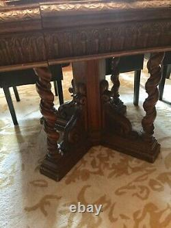 12 Dining Table From 1800s With 12 Leather Chairs