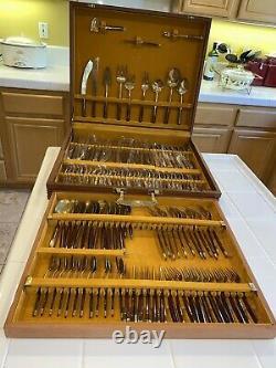 144 Piece Bronze Rosewood Flatware Set withOriginal Wood Case from Hong Kong MCM