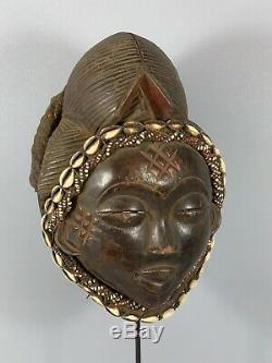 181028 Tribal used Old African female mask from the Punu with Cap Gabon