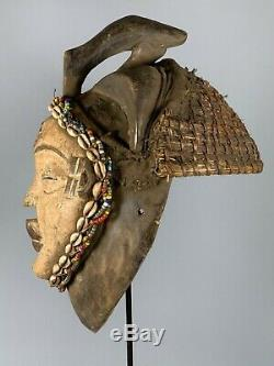 191028 Tribal used Old African female mask from the Punu with Cap Gabon