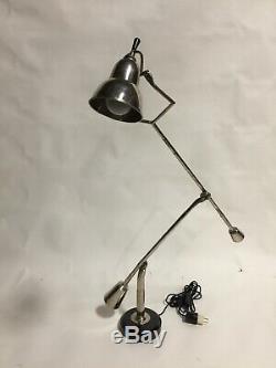 1920s Original Vintage Adjustable Nickel Desk Lamp by Edouard Buquet from Wyeth