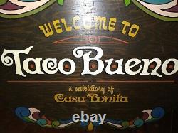 1967 Taco Bueno Casa Bonita 2 Foot Hand Painted Wood Sign From Tulsa Restaurant