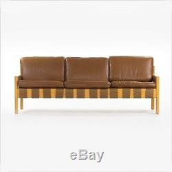 1976 Arne Norell Attr. Leather and Oak Sofa from Hugh Stubbins Library Princeton