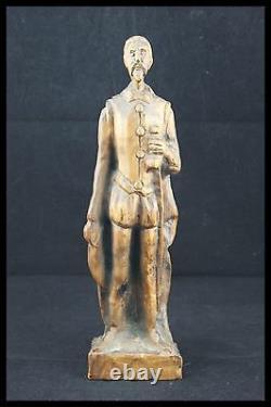 19TH DON QUIXOTE de LA MANCHA HAND CARVED WOOD STATUE H. 12.1/2 from SPAIN