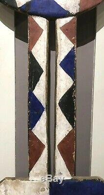 19th / 20th c Polychrome Tribal Plank Mask from Bedu Tribe, Burkina Faso, Africa