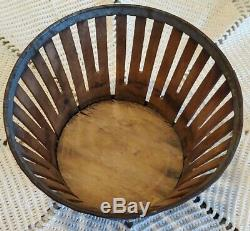 19th C Antique Shaker Berry Basket Wooden Staves from New England