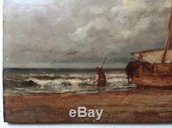 19th Century Antique French Impressionism oil painting Back from fishing