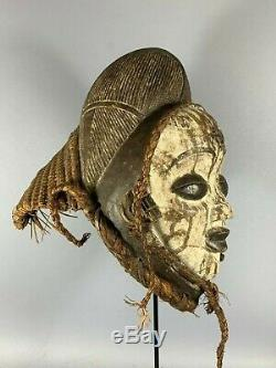 200724 Tribal used Old African female mask from the Punu Gabon