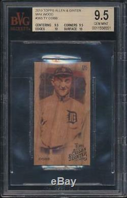 2019 Topps Allen Ginter Mini WOOD Ty Cobb #365 BGS 9.5 GEM MINT. 5 From PRISTINE