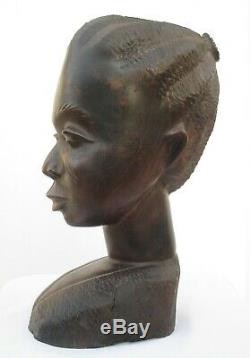 3.8kg! Old African Carved Iron Wood, Large & Heavy Woman Head Statue from Kenya