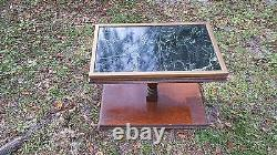 3 Green Marble and Wood One-of-a-Kind Tables from Old Bank Building Rare Marble