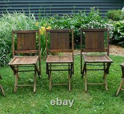 5 Antique Wood Folding Slat Chairs from IOOF Odd Fellows Lodge Simmons