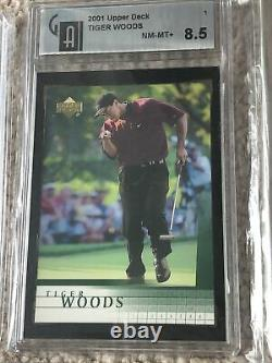 (9) Tiger Woods Rookie Lot- 3 2001Upper Deck #1 3 X 9.5, 0.5 from Gem Mint