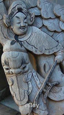 ANTIQUE 17c-18c CHINESE WOOD CARVED FRAGMENT FROM A CHINESE TEMPLE DEMOLISHED