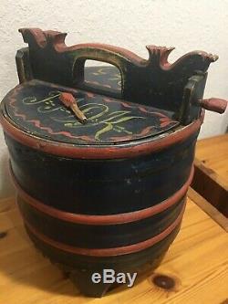 ANTIQUE NORWEGIAN WOODEN TINE GROTAMBAR ORIG. PAINT from Norway 1845 ROSEMALING