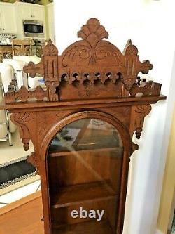 ANTIQUE VICTORIAN WALL HANGING CURIO CABINET RE PURPOSED FROM Pendulum Clock