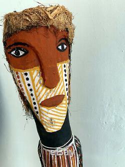 An Australian Aboriginal Primordial Ancestor Couple Statue From Tiwi Island