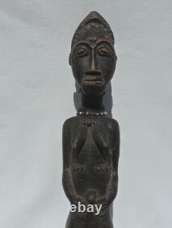 An old african female statue figure with display base baule from ivory coast #16