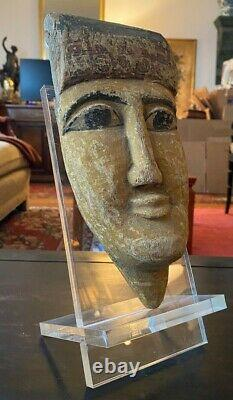 Ancient Egyptian Mummy Mask of Carved Wood from the Late Period with Lucite Stand