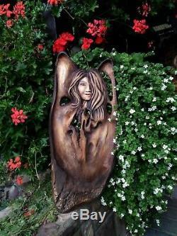 Angel Figure carved from solid Linden wood Handmade Wooden Sculpture 26/66 cm
