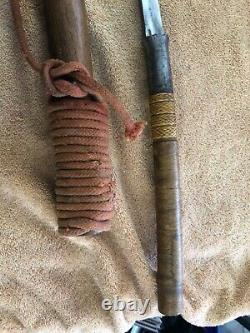Antique Burmese Dha Sword w. Scabbard from estate