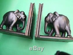 Antique Carved Ebony Wood Elephant Pair Bookends from Ceylon Vintage Decor
