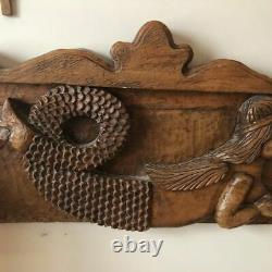 Antique Carved Mermaid Headboard from Mexico