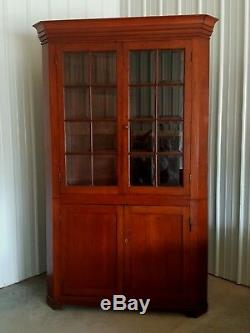 Antique Cherry Wood Corner Cabinet With Beveled Glass From MID 1800's