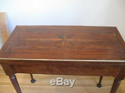 Antique Folding Card Table from Eleanor Roosevelt Christie's Sale Inlaid Design