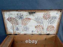 Antique Folk Hand-drawn Balkan Romanian Wooden Box Chest 1853 from Brashov