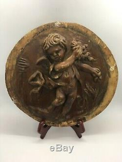 Antique French Carved Wood Figural Cherub Panel From Salvaged House 9 Face