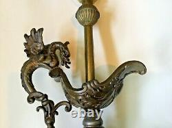 Antique Gothic Style Lamp brass, wood made from spelter ewer with Griffin handle