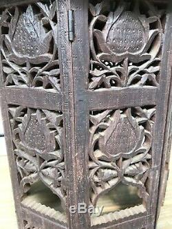 Antique Hand Carved Collapsible Carved Wooden Side Table from India