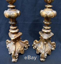 Antique Italian style gilt Torchieres, as found condition from a local estate