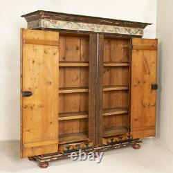 Antique Large Break Down Armoire Shrunk From Germany with Original Polychrome
