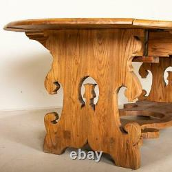 Antique Large Drop Leaf Dining Table With Carved Base From Germany