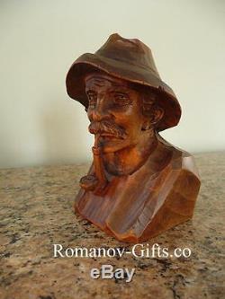 Antique Linden Wood Bust of Bavarian Hunter from Oberammergau Sculpture