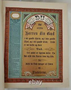 Antique Old Large German Family Bible From 1800's Hard Cover Wood Leather