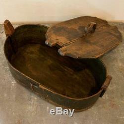 Antique Original Black Painted Bent Wood Box from Sweden