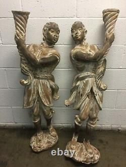 Antique PAIR Hand Carved Wood BLACKAMOORS withTorch from Venice ITALY late 1800's
