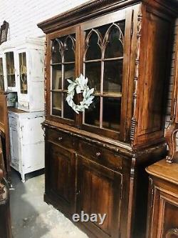 Antique Rustic Solid Wood Hutch From France, Europe, Farmhouse, Country Cottage