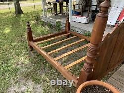 Antique Solid rope bed from 1800's, full size. Modified to use with mattress