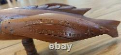 Antique Souvenir From Pitcairn Island Hand Carved Wooden Flying Fish, 1950's