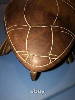 Antique Souvenir From Pitcairn Island Hand Carved Wooden Turtle, 1960 Vintage