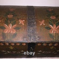 Antique Swedish Wedding Chest Dowry Trunk from 1861 original lock/key