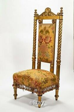 Antique Upholstered Gilded Prayer Chair From Cz Winston Guest Estate