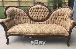 Antique Victorian Medallion Button Tuck Sofa Floral Couch from 1920 Wood Frame