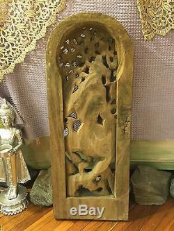 Antique/Vintage Carved Wood Vishnu From Temple