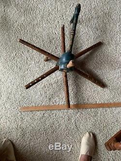 Antique Yarn winder from Norway. Original paint. Bonde blå. Farmer Blue