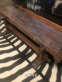 Antique coffee table wood, made from old workbench